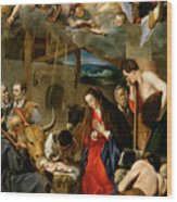 The Adoration Of The Shepherds Wood Print by Fray Juan Batista Maino or Mayno