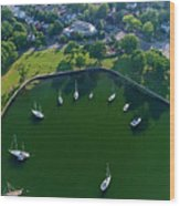The Aerial View Of The Marina Of Mamaroneck Wood Print