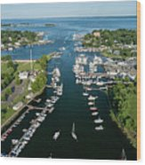 The Aerial View To The Mamaroneck Marina, Westchester County Wood Print