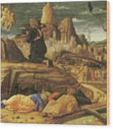 The Agony In The Garden Wood Print by Andrea Mantegna