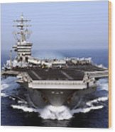 The Aircraft Carrier Uss Dwight D Wood Print by Stocktrek Images
