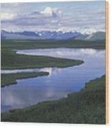 The Alaska Range Reflecting In A Lake Wood Print