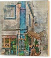 The Albar Coffee Shop In Alvor. Wood Print