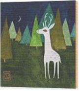 The Albino Deer Wood Print
