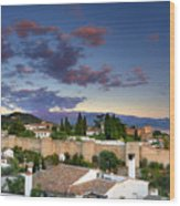 The Alhambra Palace And Albaicin At Sunset Wood Print