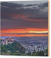 The Alhambra And Granada City Wood Print