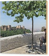 The Alhambra From Sacromonte Wood Print