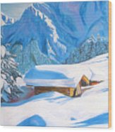 The Alpine Hut Wood Print