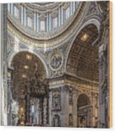 The Altar And Dome In St Peter's Basilica Wood Print