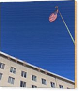 The American Flag At The United States Department Of State Wood Print