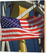 Tribute To The American Flag Oil Industry Wood Print