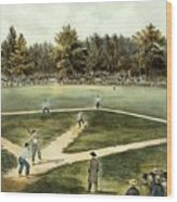 The American National Game Of Baseball Grand Match At Elysian Fields Wood Print by Currier and Ives