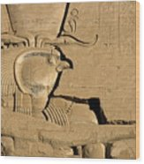 The Ancient Egyptian God Horus Sculpted On The Wall Of The First Pylon At The Temple Of Edfu Wood Print by Sami Sarkis