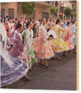 The Andalusian Fair, A Party In The Streets Wood Print