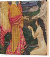 The Angel Offering The Fruits Of The Garden Of Eden To Adam And Eve Wood Print by JBL Shaw