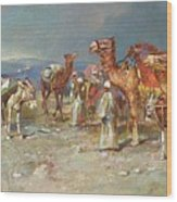 The Arab Caravan   Wood Print