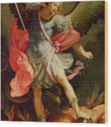 The Archangel Michael Defeating Satan Wood Print