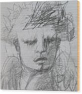 The Archangel Michael By Alice Iordache Original Drawing Wood Print