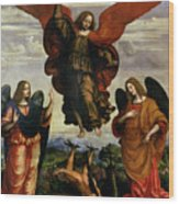 The Archangels Triumphing Over Lucifer Wood Print