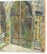 The Archways Of Bandouille 12th Century Monastery Sevres France Wood Print