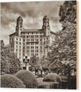 The Arlington Hotel - Hot Springs Arkansas - Sepia Wood Print