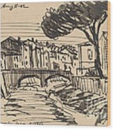 The Arno In The Evening, Florence Wood Print