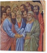 The Arrival Of The Apostles To The Virgin Fragment 1311 Wood Print