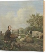 The Artist Painting A Cow In A Meadow, 1850 Wood Print