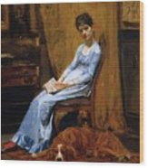 The Artist Wife And His Setter Dog 1889 Wood Print
