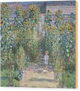 The Artists Garden At Vetheuil Wood Print