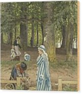The Artist's Wife And Daughters In A Park At Heringsdorf Wood Print