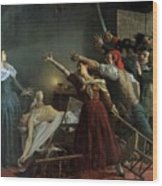 The Assassination Of Marat Wood Print by Jean Joseph Weerts