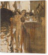 The Balcony, Spain Two Nude Bathers Standing On A Wharf Wood Print