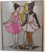The Ballet Dancers In Stained Glass Wood Print