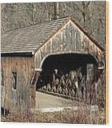 The Baltimore Covered Bridge - Springfield Vermont Usa Wood Print