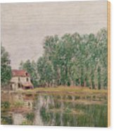 The Banks Of The Canal At Moret Sur Loing Wood Print