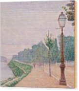 The Banks Of The Seine At Neuilly 1886 Wood Print