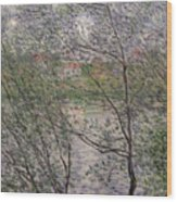 The Banks Of The Seine Wood Print by Claude Monet