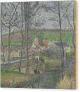 The Banks Of The Viosne At Osny In Grey Weather, Winter Wood Print