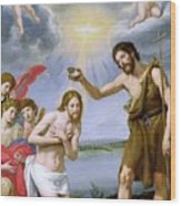 The Baptism Of Christ Wood Print by Ottavio Vannini