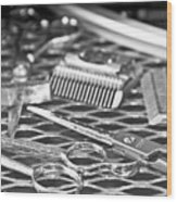 The Barber Shop 10 Bw Wood Print by Angelina Vick