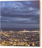 The Barcelona City Skyline, Spain Wood Print