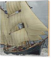 The Barkentine Loa Wood Print by Robert Lacy