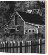 The Barn Bw  Wood Print