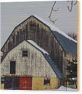 The Barn With A Red Door Wood Print