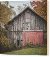 The Barn With The Red Door Wood Print
