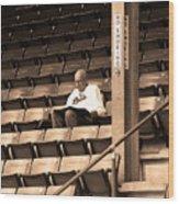 The Baseball Fan Sepia Wood Print