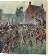 The Battle Of Brooklyn - Smallwood's Marylanders At The Old Stone House - Long Island  Wood Print
