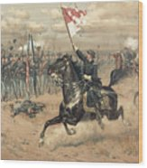 The Battle Of Cedar Creek Virginia Wood Print by Thure de Thulstrup