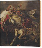 The Battle Of Giaour And Hassan Wood Print